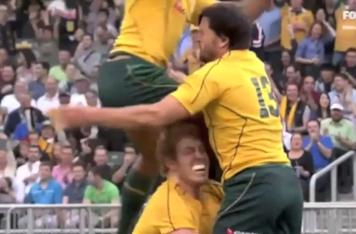 Wallaby celebration try