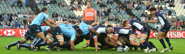 Nic 'tripod' Henderson propping up  the Rebels scrum