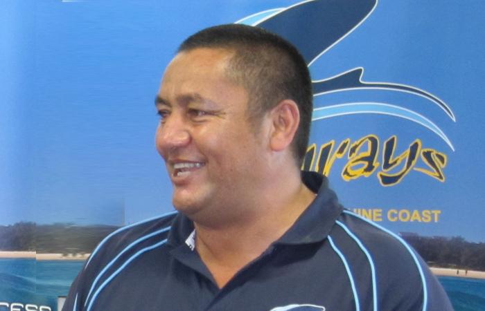 Stingrays Coach John Rangihuna Not quite this happy.