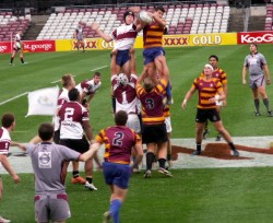 Clarke taking the lineout.