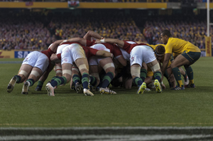Why are the Lions' lock and flanker on the right split apart?