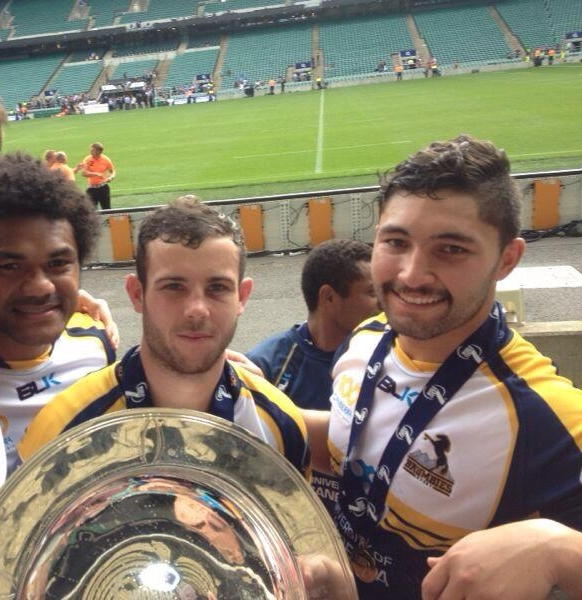 Henry Speight, Robbie Coleman and Colby Fainga'a with the trophy