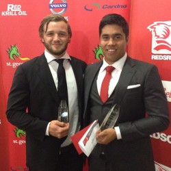 Rookie of the year Curtis Browning with Spirit of the Reds winner Jarrad Butler