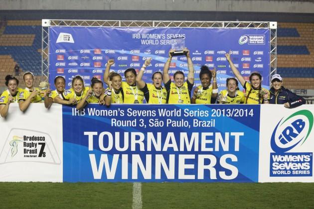 Australia womens sevens Trophy lift