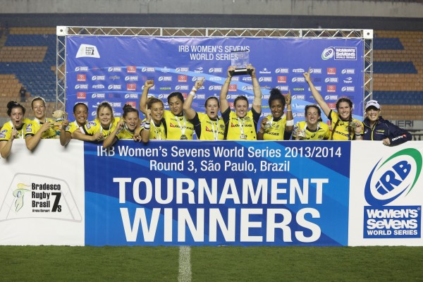 Australia womens sevens Trophy lift