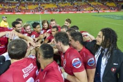 Reds huddle