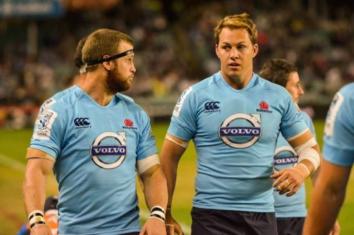 Pat McCutcheon in action with Stephen Hoiles during the Waratahs 2014  Super Rugby Campaign.