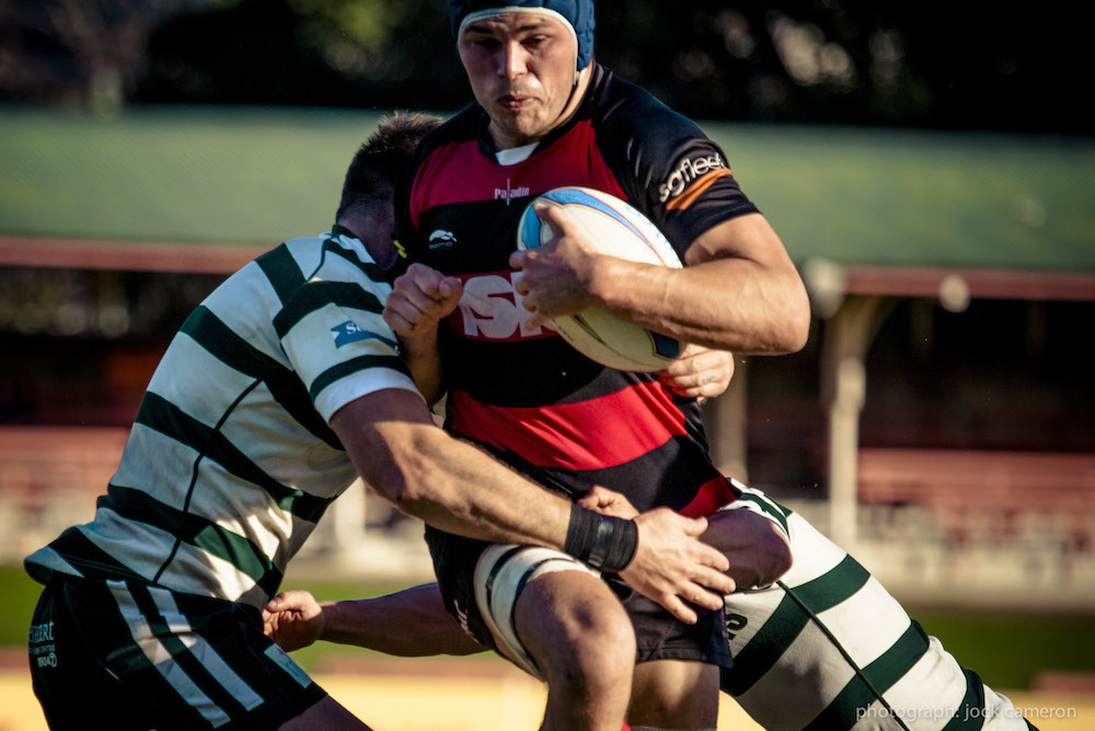 Norths No8 Michael Wells goes hard up the guts