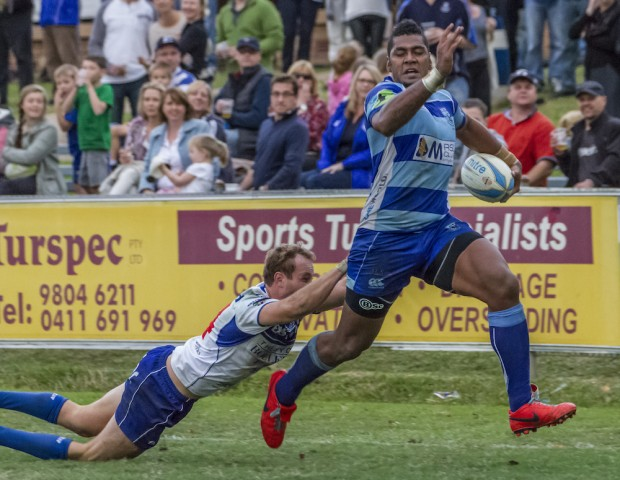 Parramatta centre-wing Taqele-Naiyaravoro on his way to an after the bell try - photo by Debbie O'Connor