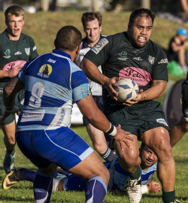 Randwick prop Toa Asa charges at Parramatta number 8 Rodney Ma'a_photo by Pat Dunne