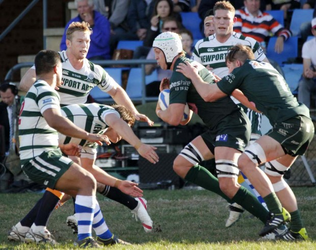 Stephen Hoiles withTom Connor aim up at defense