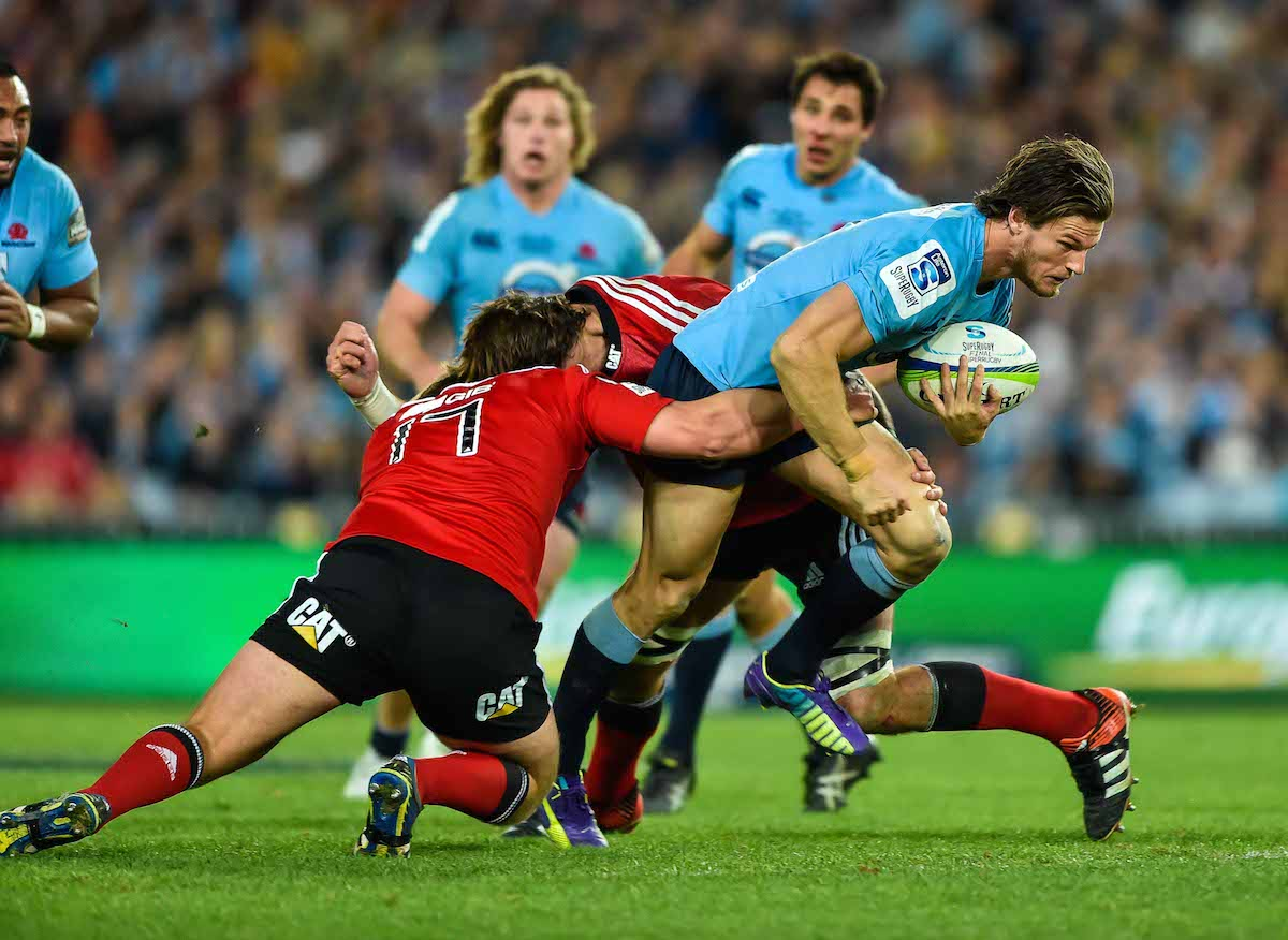 Rob Horne charges in 2014 Super Rugby final