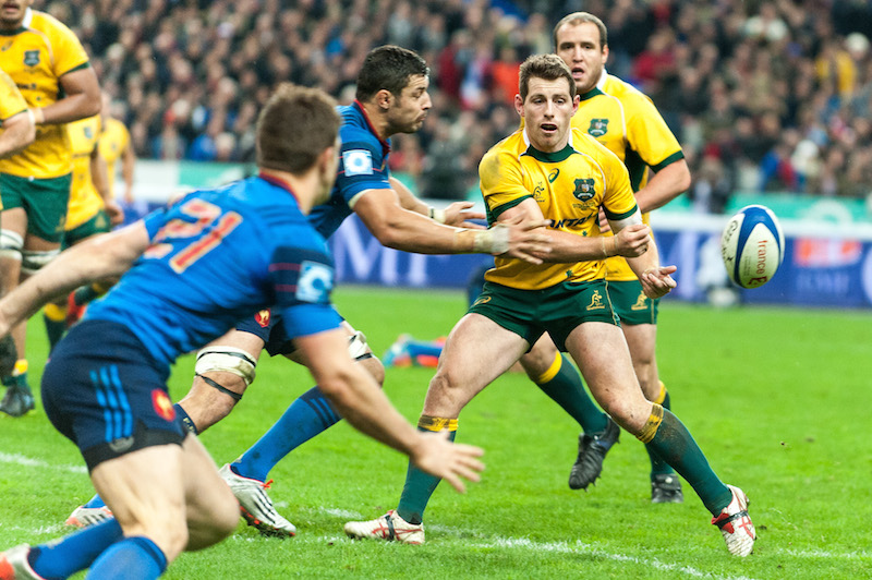 A no-look pass from Wallabies flyhalf Bernard Foley.