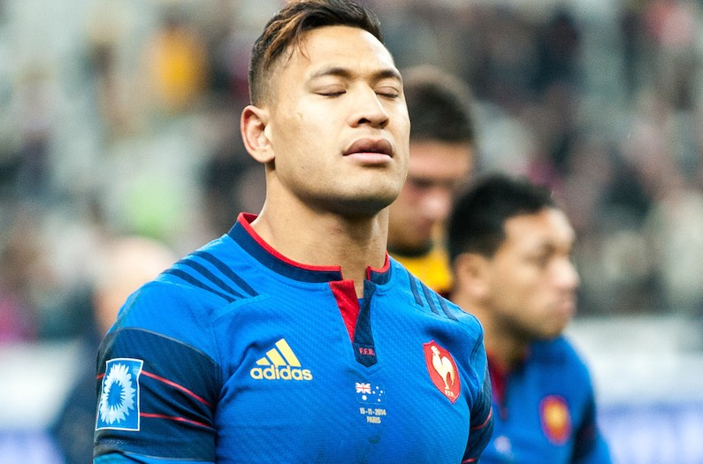 Israel Folau, showing the pain of defeat as he was leaving the field following the defeat by Les Bleus in Paris.