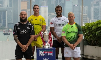 Hong Kong Sevens Top 4 Captains pose with tropy