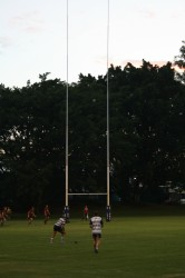 Brothers fly-half scoring a conversion to make the score 7-0. Brothers v Christchurch