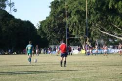 GPS fullback Jason Hofmeyr lines up a penalty goal.