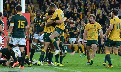 try celebration Australia v South Africa 2015