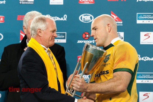 Wallabies' captain, Steven Moore accepts the Rugby Championship trophy.