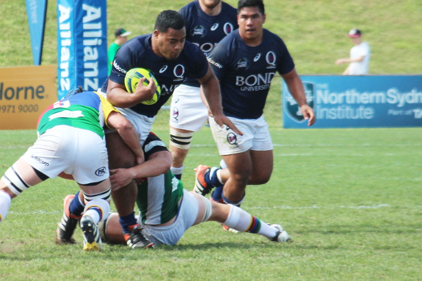 Taniela Tupou is tackled - one for each leg