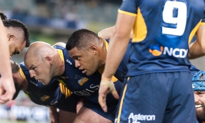 Brumbies vs Chiefs: Scott Sio readies to pack a scrum.