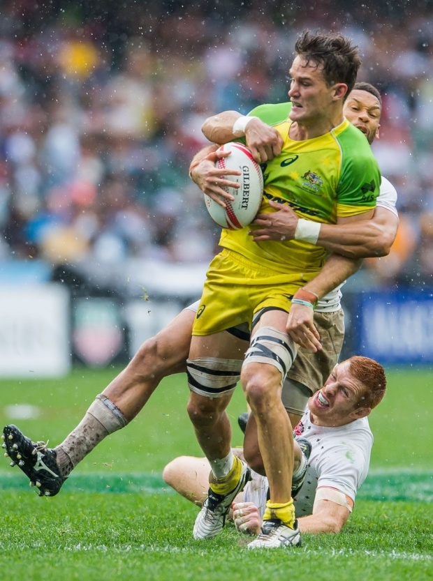 Australia during their HSBC Wold Rugby Sevens Series match as part of the Cathay Pacific / HSBC Hong Kong Sevens at the Hong Kong Stadium on 10 April 2016 in Hong Kong, China. Photo by Mike Pickles / Future Project Group