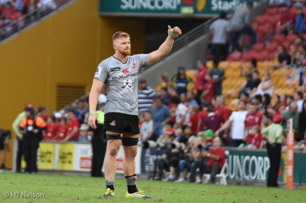 Ed Quirk acknowledges the Suncorp Crowd in his return as a Sunwolf