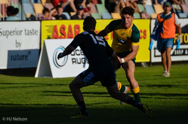 Simon Kennewell scores Australia's first try in the corner