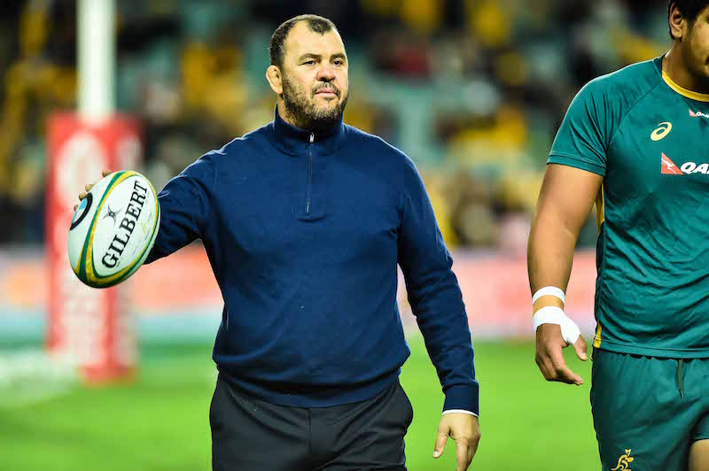 Michael Cheika oversees the warmup - Photo by Keith McInnes