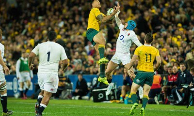 Israel Folau and Jack Nowell compete for a high ball - Photo by Keith McInnes