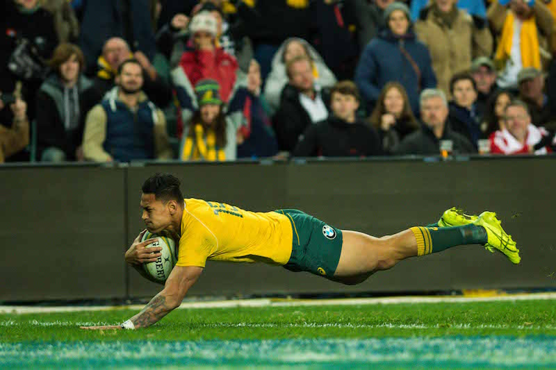 Folau dives over for his try - Photo by Keith McInnes