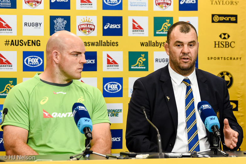 Michael Cheika and Stephen Moore at the post-match press conference