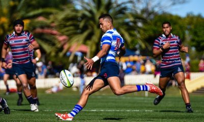 Nudgee captain Augustus Rangihuna clears the ball