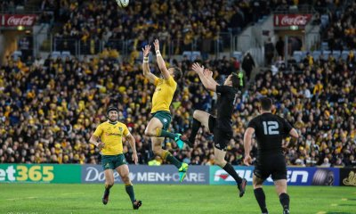 Adam Ashley Cooper competes with Ben Smith