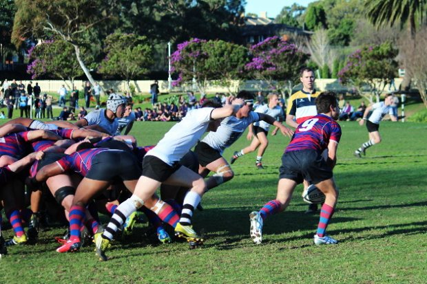 Dylan Dowling clears the scrum