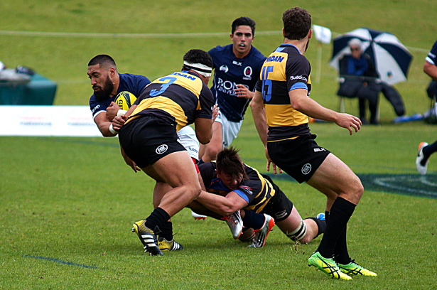 Tyrone Lefau tackled by Ross Haylett-Petty