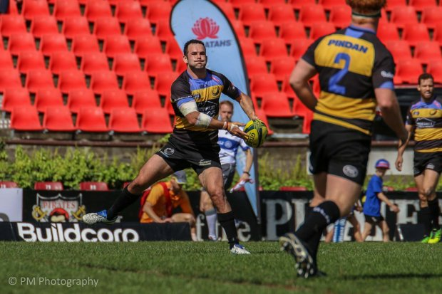 Jono Lance loads up a left to right pass.