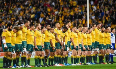 Wallabies during national anthem