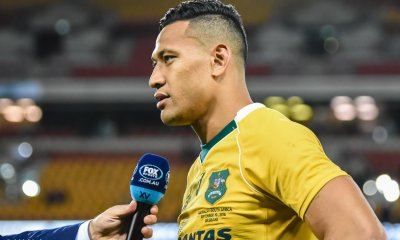 Israel Folau during a post-match interview