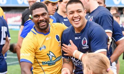 Moses Sorovi and Duncan Paia'aua share a laugh after the game