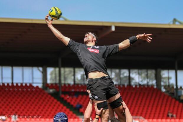 Ryan McCauley reels in a lineout ball.