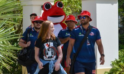 Karmichael Hunt and Sam Talakai help out with the Red Frogs at Gold Coast Schoolies