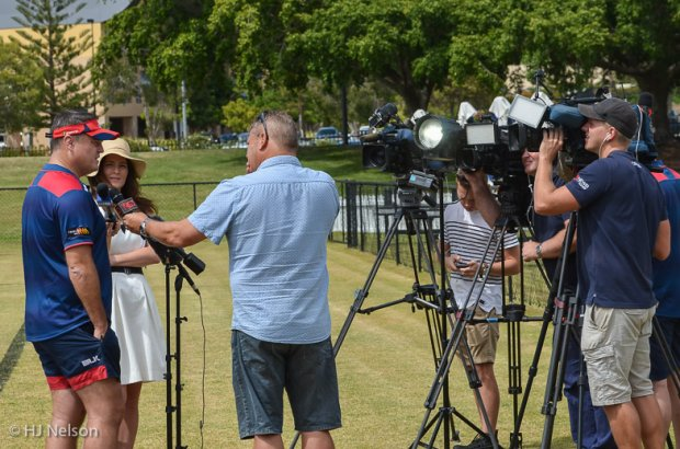 Nick Stiles fronts the local Gold Coast TV crews