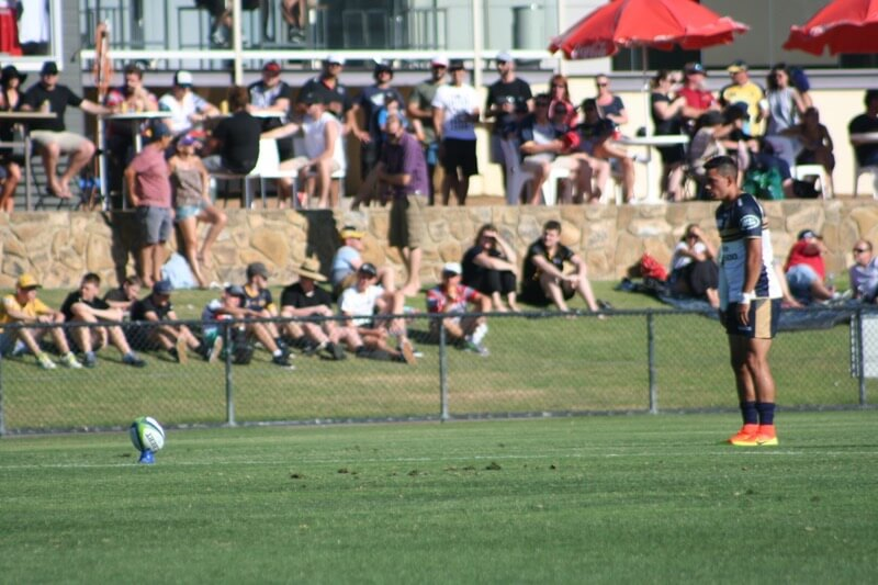 Wharenui Hawera lining up a shot at goal