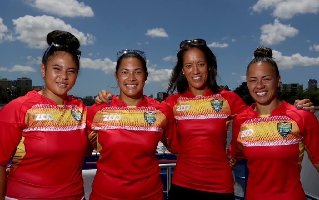 Brisbane Global Rugby Tens City Cat Launch - Toakase Filimoehala, Liz Patu, Kirby Sefo and Ivy Kaleta