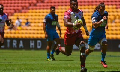 Samu Kerevi had a typical game scoring a try and making several breaks, Reds v Blues