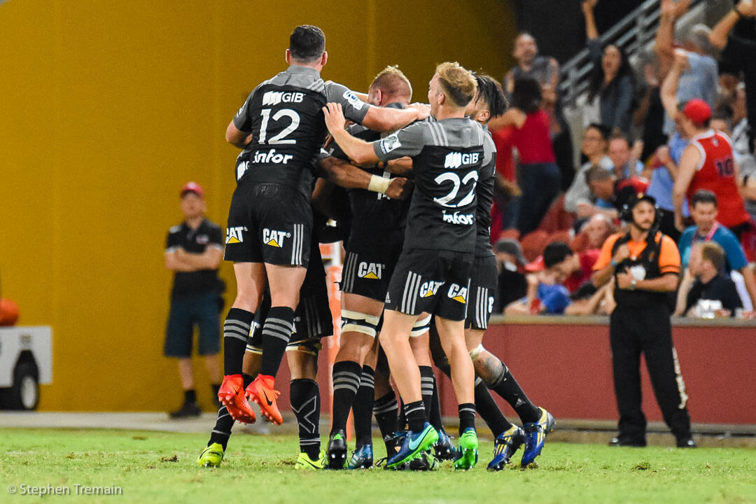 Crusaders celebrate a win after the siren