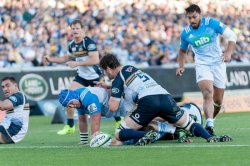 Matt Duffie reaches out to score for the Blues