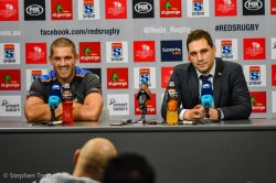Winners are grinners. Matt Hodgson and Dave Wessels at post-match press-conference