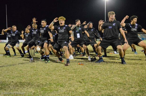 New Zealand perform a Haka for the crowd after the trophy presentation